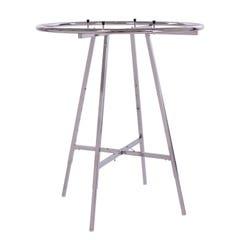 "42"" Diameter Round Folding Rack With Round Tubing Hangrail - Chrome"