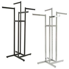 4-Way Garment Rack with Straight Arms - Rectangular Tubing Uprights