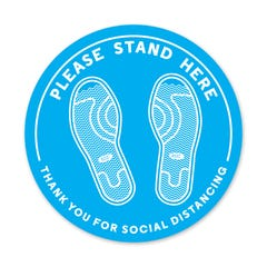 "Please Stand Here - PPE Floor Decal - 12"" Diameter - Pack of 5"