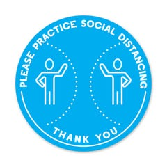 "Please Practice Social Distancing -  PPE Floor Decal - 12"" Diameter Pack of 5"