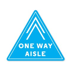 "One Way Aisle -  PPE Floor Decal -  13.7"" x 12"" Triangle - Pack of 5"