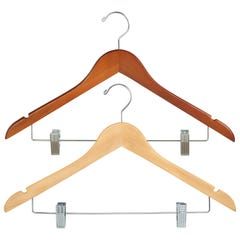 "Wooden Wishbone Suit Hanger with Clips - 17"" Long"